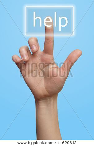Hand und Schaltfläche Hilfe