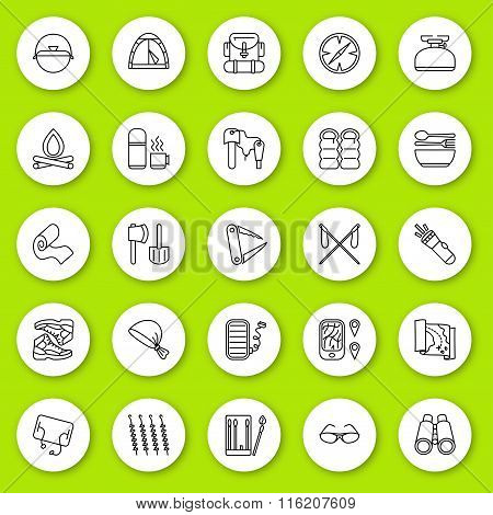 Set of line icon. Travel and tourism, camping and hiking. Contour round icons with shadow. Info grap