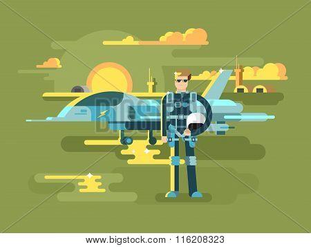 Military pilot man