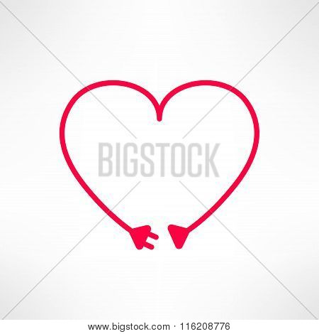 Vector heart made from electric line with plug. Love connection concept