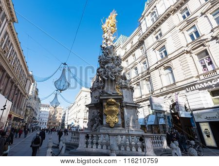 VIENNA, AUSTRIA - NOVEMBER 2015: Famous Pestsaule Statue at Graben Square on 22th of November in Vie