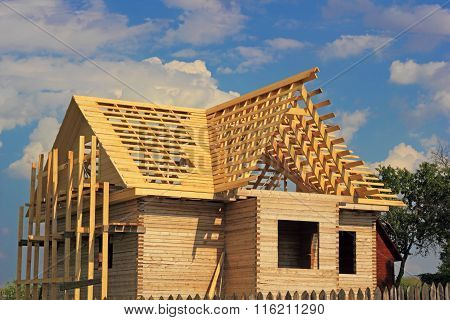 Timber House Under Constructoin With Roof Frame