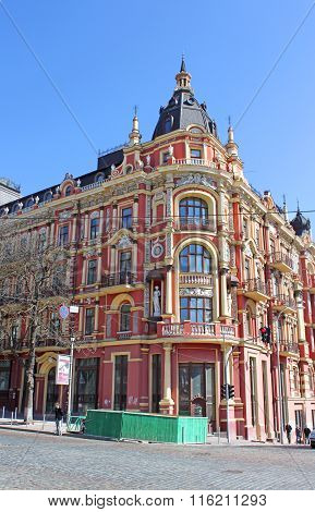 Old building in the neo-Renaissance style in Kyiv. The hotel