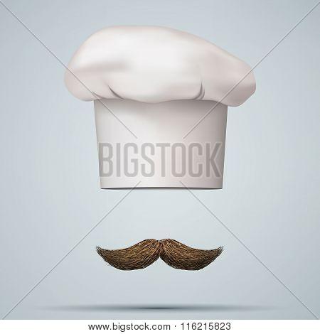 Symbol of chef cap toque and mustache.