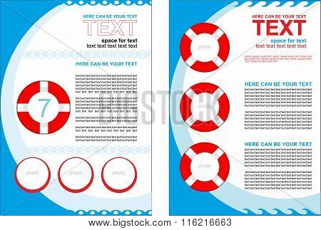 Simple vector booklet with buoys, with predominance of blue color. Sea theme