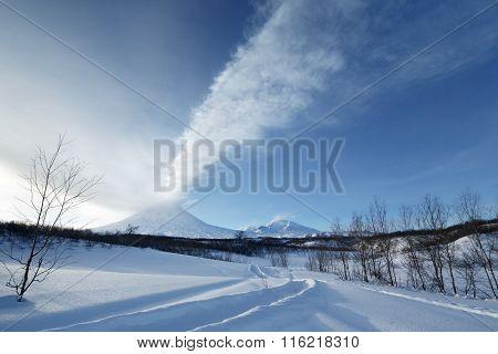 Eruption Klyuchevskaya Sopka - Active Volcano Of Kamchatka Peninsula