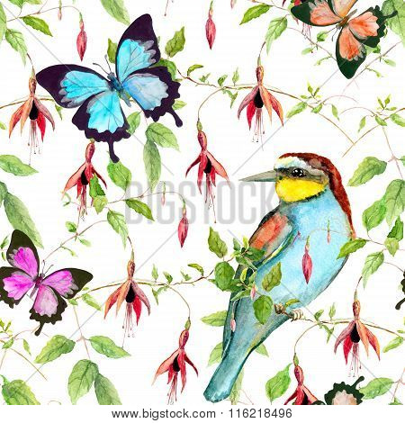 Tropical flowers, exotic bird and bright butterflies. Seamless floral pattern. Watercolour