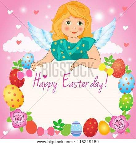 Illustration A Little Girl Angel Wings On A Cloud. Easter Greeting Card. Girl Angel Costume.