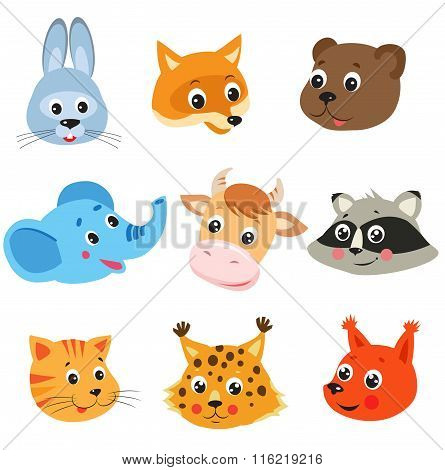 Cartoon Animal. Vector Set On White Background. Animal Face Mask. Animal Face Drawings. Fox Vector.