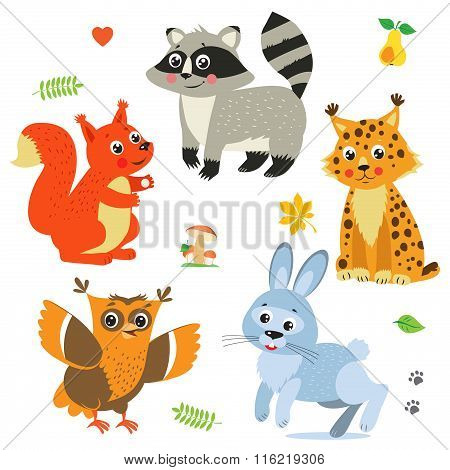 Cartoon Baby Animals Pack. Cute Vector Set: Lynx, Squirrel, Raccoon, Rabbit, Owl. Baby Animals Cute. Baby Animals Playing. Baby Animals Compilation. Baby Animals For Sale. Animals Stickers.