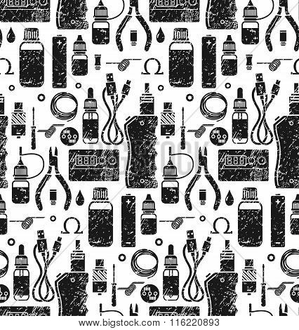 Vector Seamless Pattern Of Vape And Accessories