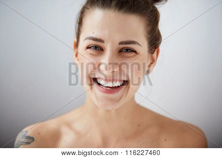 Beauty Girl Face Portrait. Beautiful Model Woman Perfect Fresh Clean Skin. Female Looking At Camera
