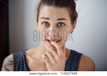 Embarrassed Woman. Closeup Portrait Woman Looking Ashamed Or Shy In Full Disbelief Isolated Grey Wal