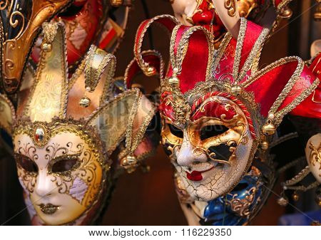 Venice Italian Many Carnival Mask For Sale In The Shop