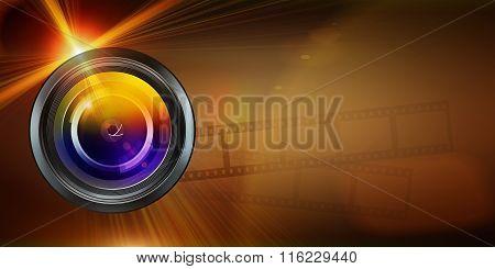 Photographic Lens On Dark  Background