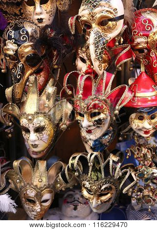 Venice Italian Red And Golden Carnival Mask