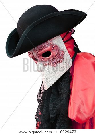 Venice Carnival Costume Of Nobleman With Decorated Mask