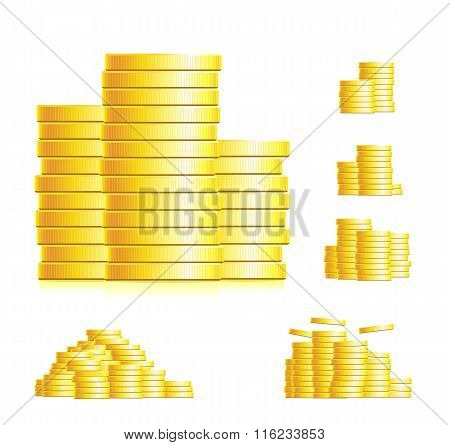 Stepped golden coins in columns