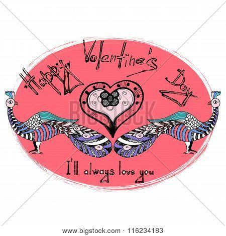 Card valentine's day. Saint Valentine's day greeting card