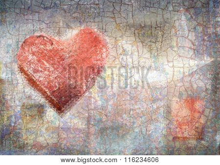 Abstract Vintage Background With Grunge Texture. Crayon Heart.