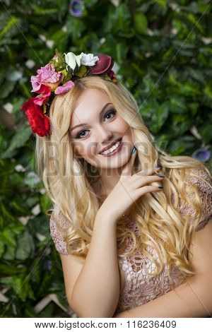 Cute Smiling Blond Girl With Circlet From Flowers