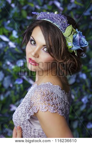 Brunette Girl With The Coronet From Flowers