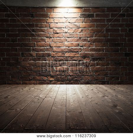 Wooden Floor And Red Brick Wall With Spot Light