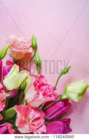 Pink and white flowers on light pink background, copy space