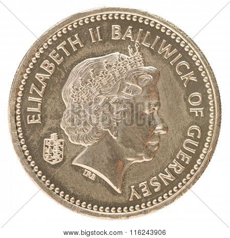 One pound Bailiwick of Guernsey with the image of a portrait of Queen Elizabeth poster