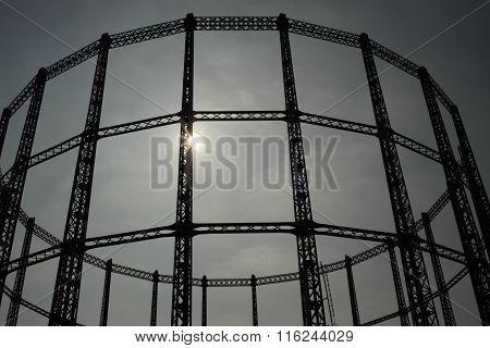 Disused gasholder in East London