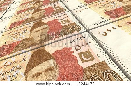 Pakistan rupee bills stacks background. Computer generated 3D photo rendering.