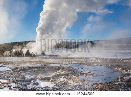 Old Faithful Eruption With Other Hot Springs Landscape