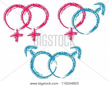 Hand Drawn Isolated Symbols Of Couple: Lesbian, Gay, Heterosexual