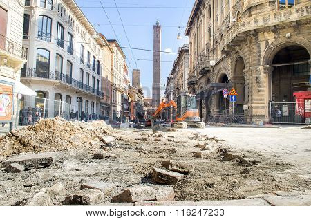 Bologna, Italy - March 7, 2015: Road Yards In The Bologna Inner City
