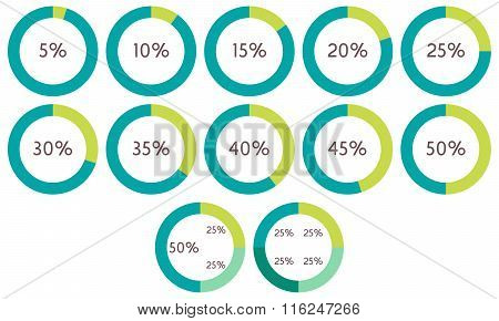 Infographics Vector: 5%, 10%, 15%, 20%, 25%, 30%, 35%, 40%, 45%, 50% Green And Blue Circle Diagrams,