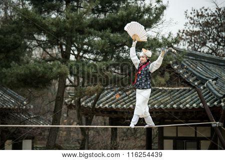 Acrobatics on a Tightrope walking at Korean Folk Village