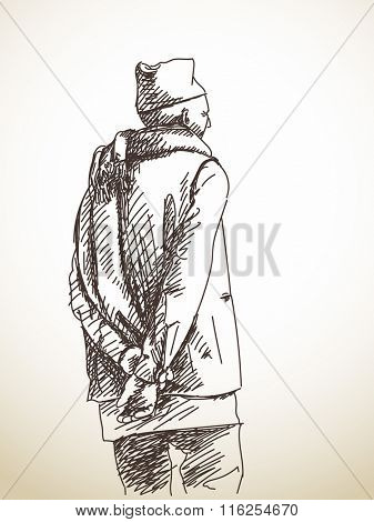 Sketch of nepali man from back with scarf around his neck, Hand drawn illustration