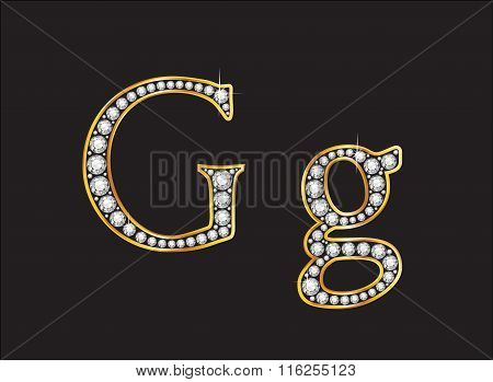 Gg Diamond Jeweled Font With Gold Channels