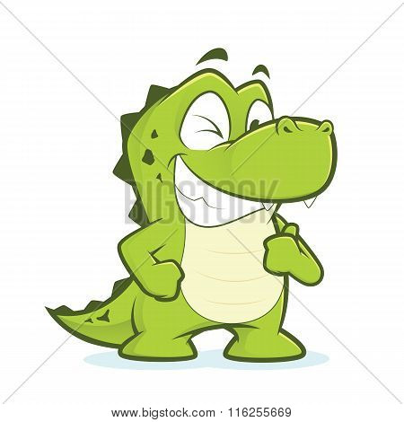 Crocodile or alligator giving thumbs up and winking