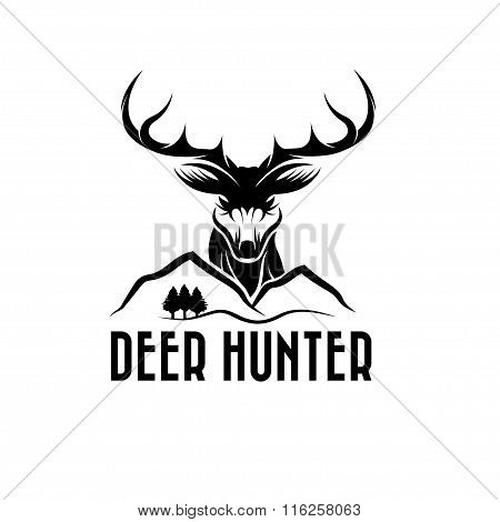 Deer Head,pines And Mountains