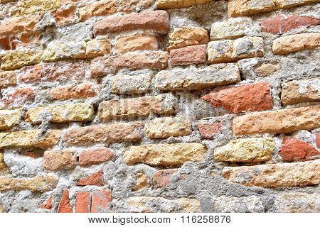 Brick Wall Is Worn And Textured By Weather