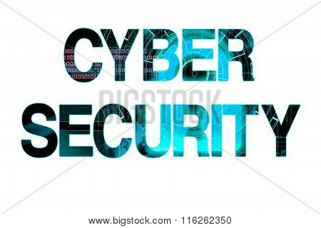 Cyber Security Laser Writing On A White Background