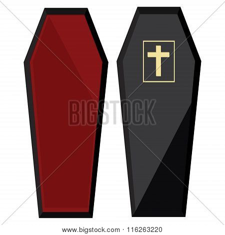 Black Coffin With Cross