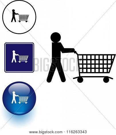 shopping symbol sign and button