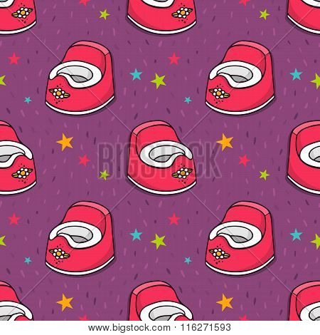 Vector Seamless Pattern With Baby Potty