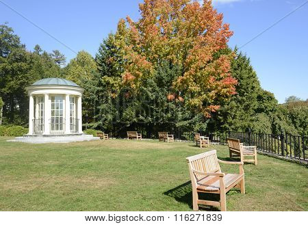 Round Gazebo And Wood Park Benches