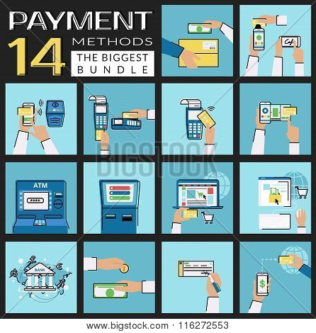 Flat concept vector illustrations set of payment methods such as credit card, nfc, mobile app, atm,