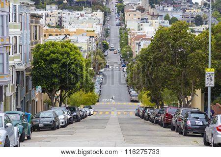 Typical San Francisco Hilly Neighborhood, California, Usa
