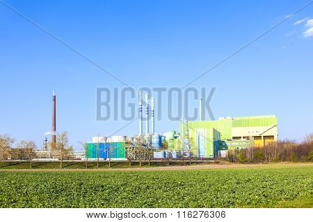Buildings Of An Industry Park In Beautiful Landscape Near Frankfurt.
