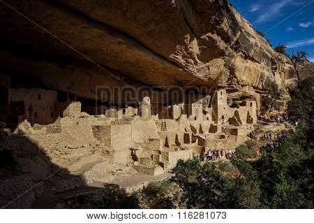 Tourists visit Cliff Palace in Mesa Verde National Park